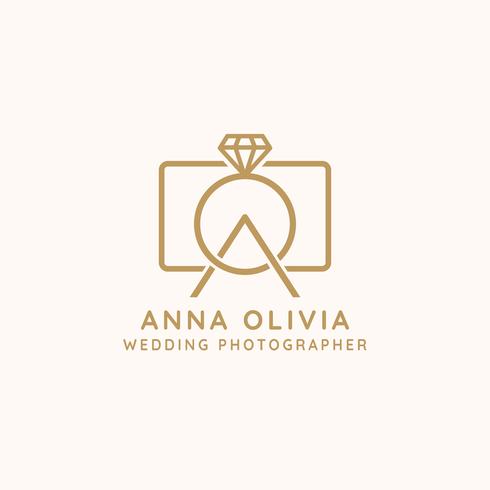 Bröllop Fotograf Logo Vektor