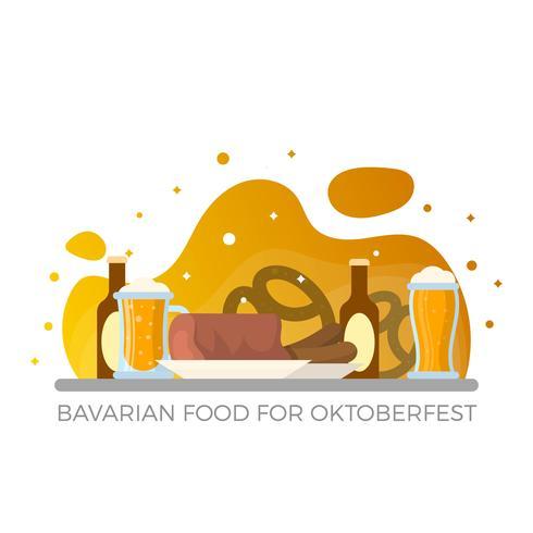 Flache bayerische Nahrung für Oktoberfest mit Steigung Hintergrund-Vektor-Illustration
