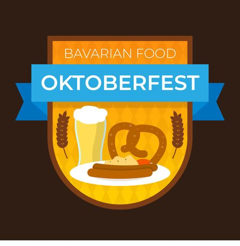 Comida bávara plana para Oktoberfest distintivo com ilustração em vetor fundo gradiente