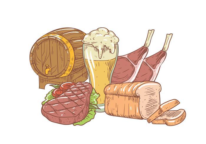 Ilustração de comida Oktoberfest