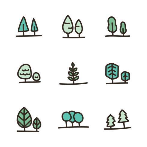 Umrissene mutige doodled Bäume