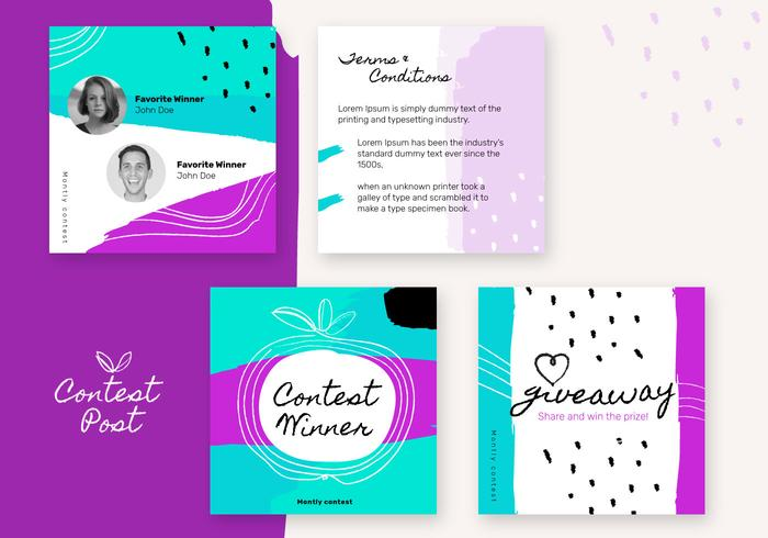 Vibrante Handmade Brush Instagram Contest modelo Post Set vector