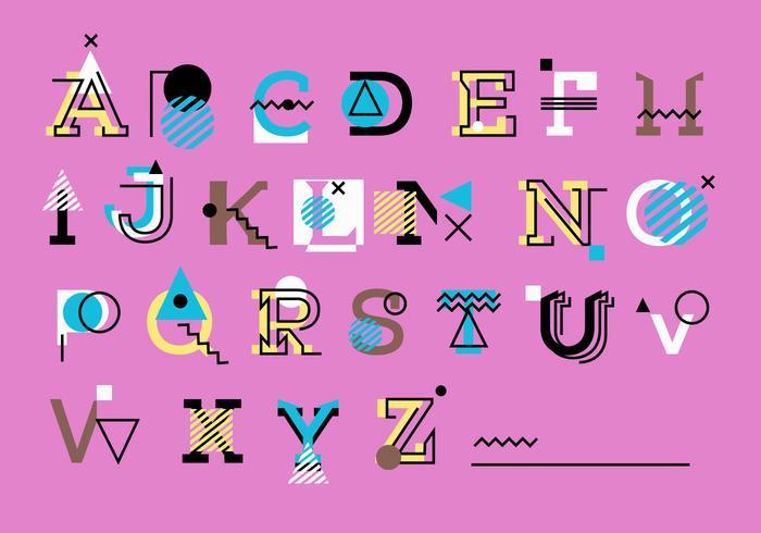 Bonito rosa geométrica Memphis estilo alfabeto conjunto Vector