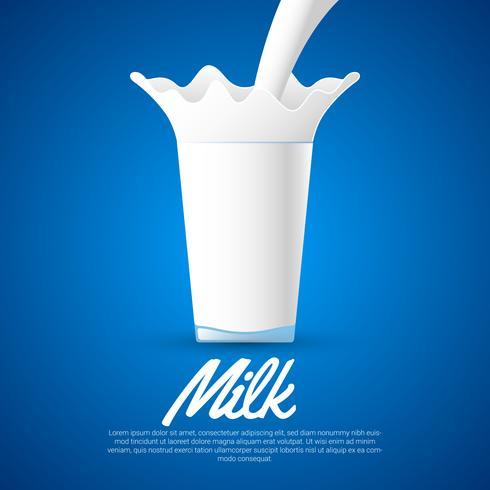 Milch-Spritzen auf Glasvektorillustration