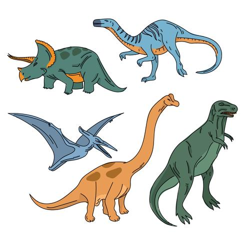 Bunte realistische Dinosaurier