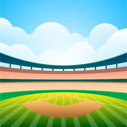 Campo de beisebol com ilustração vetorial de estádio brilhante