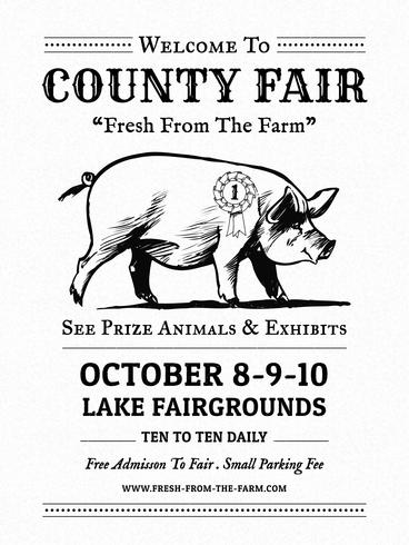 County Fair Livestock Show Vintage Poster