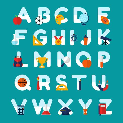 School Themed Alphabet Vector