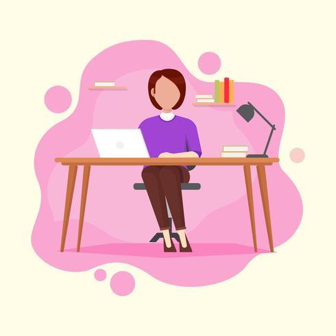 Ilustração em vetor feminino desenvolvedor