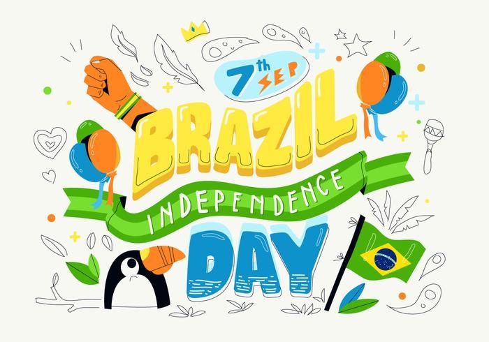 Dia da independência do Brasil fundo tipografia ilustração vetorial