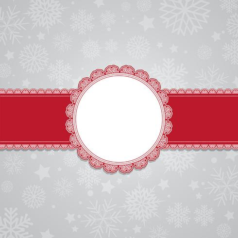 Christmas snowflake background with blank label vector