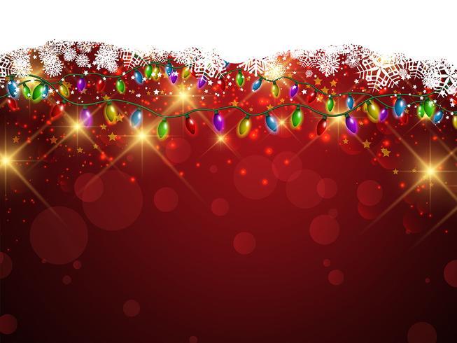 Weihnachtslichter und Schneeflockenhintergrund