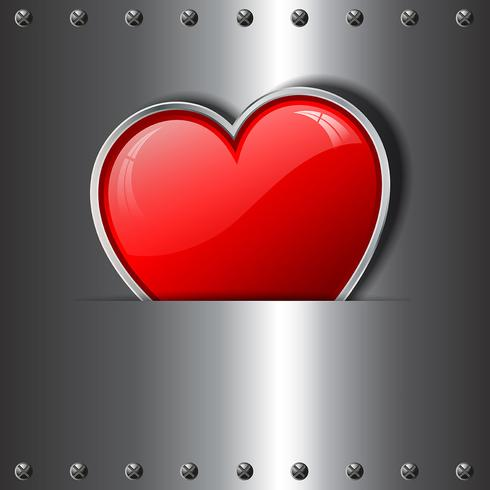 Heart on metal background