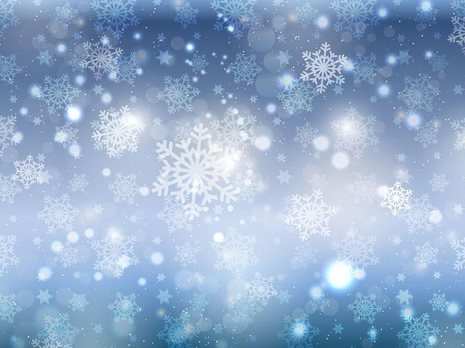 Fondo de copo de nieve de Navidad azul