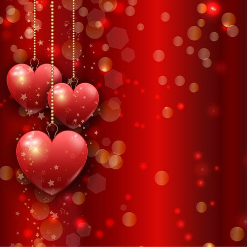 Hanging hearts Valentine's Day background