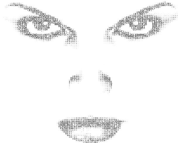 Kvinna ansikte av text