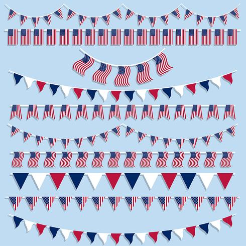 Drapeaux américains banderoles et bannières