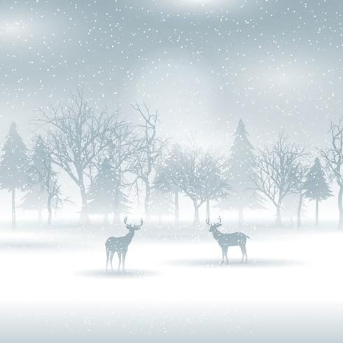 Deer in a winter landscape
