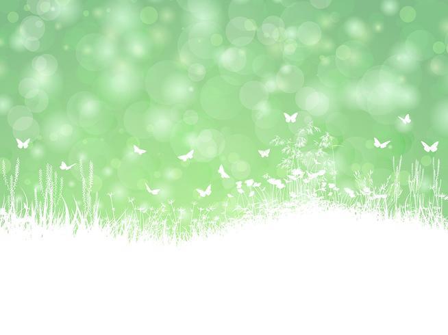 Paysage de printemps avec des papillons