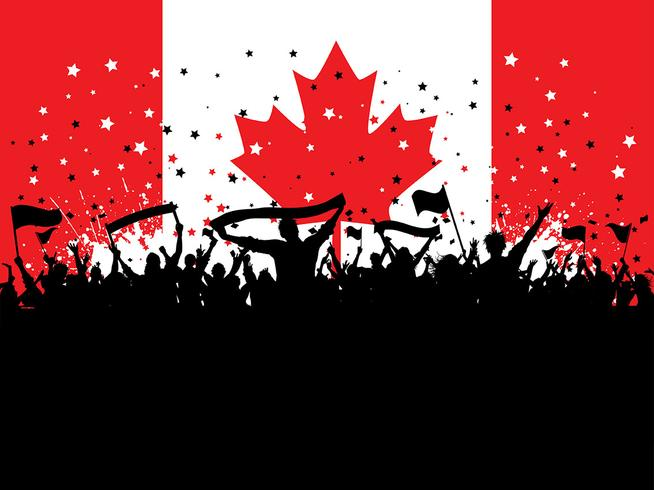 Party crowd on canadian flag
