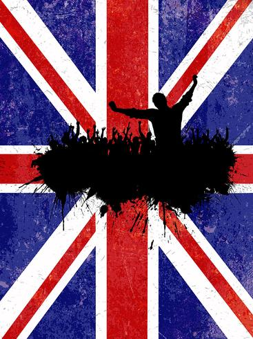 Grunge party background with Union Jack flag