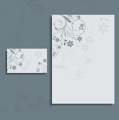 Foral letterhead and business card layout vector