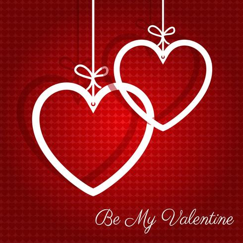 Hanging hearts Valentines Day background