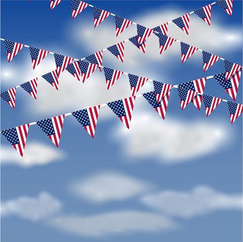 Bandeira americana, bunting, em, a, céu