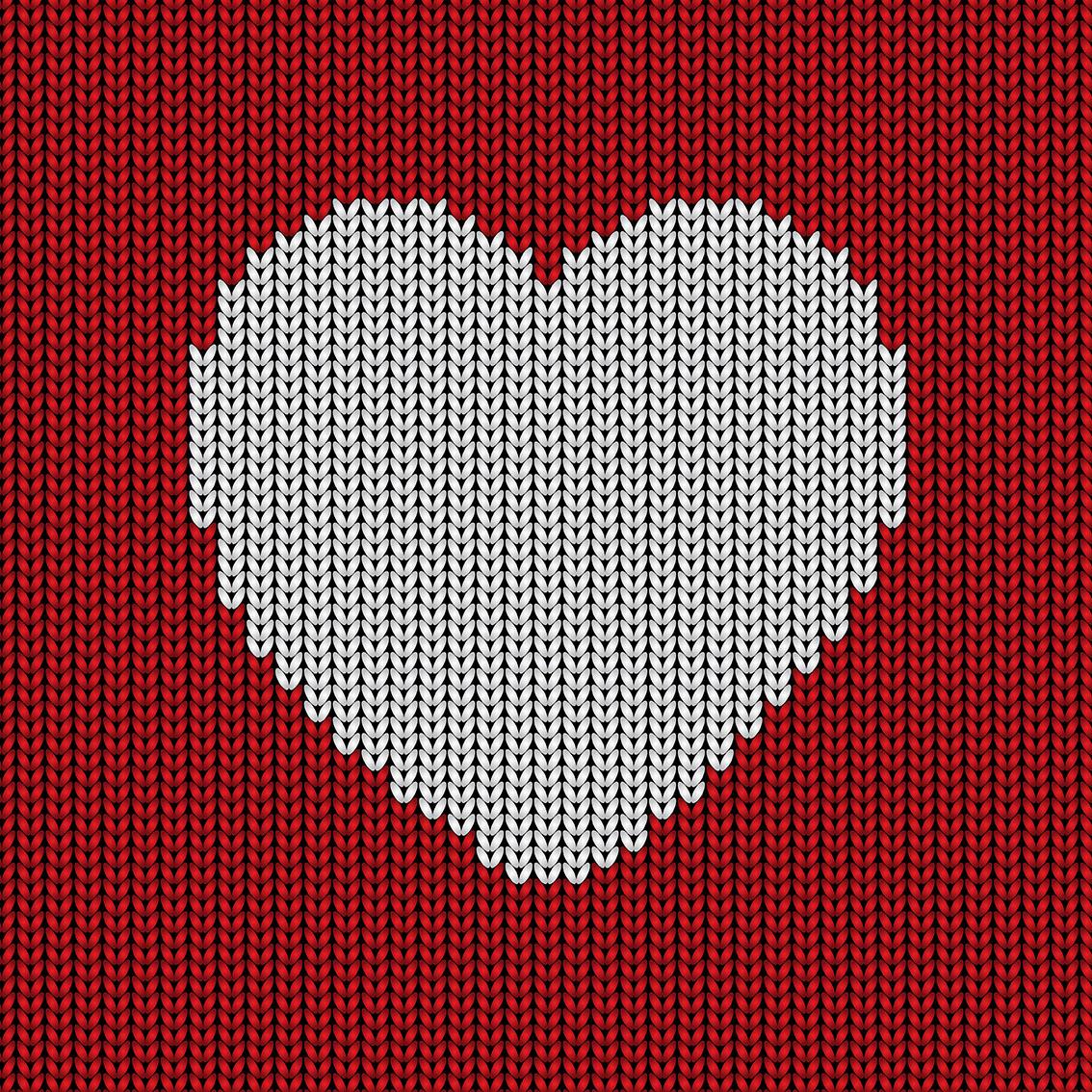 Knitted heart background - Descargue Gráficos y Vectores Gratis