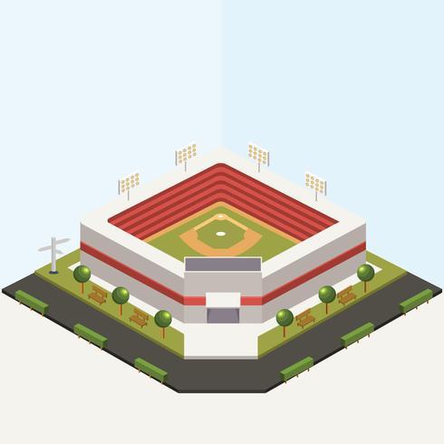 Conception de vecteur de parc de baseball isométrique