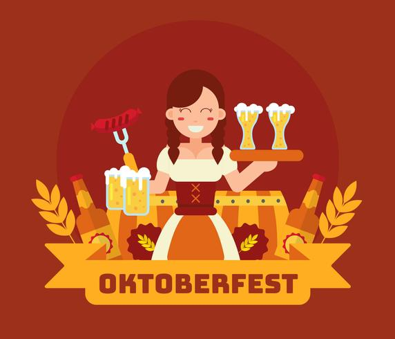 Oktoberfest With Lady in Dirndl Vector
