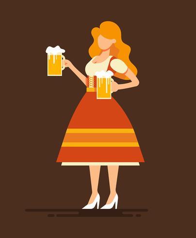 Dame In Dirndl Illustration
