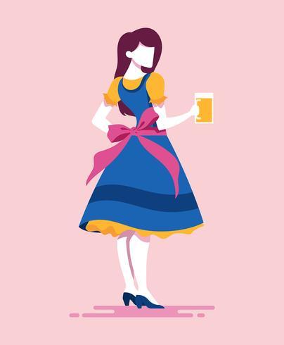 Lady In Dirndl Illustration