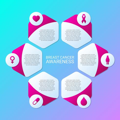 Breast Cancer Awareness Infographics Layout Template vector