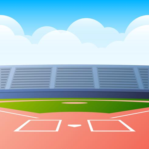 Baseball Field Ready For The Big Game Vector Illustration