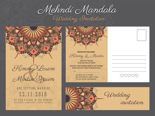 Diseño de tarjeta de invitación de boda vintage clásico con hermosa Ma