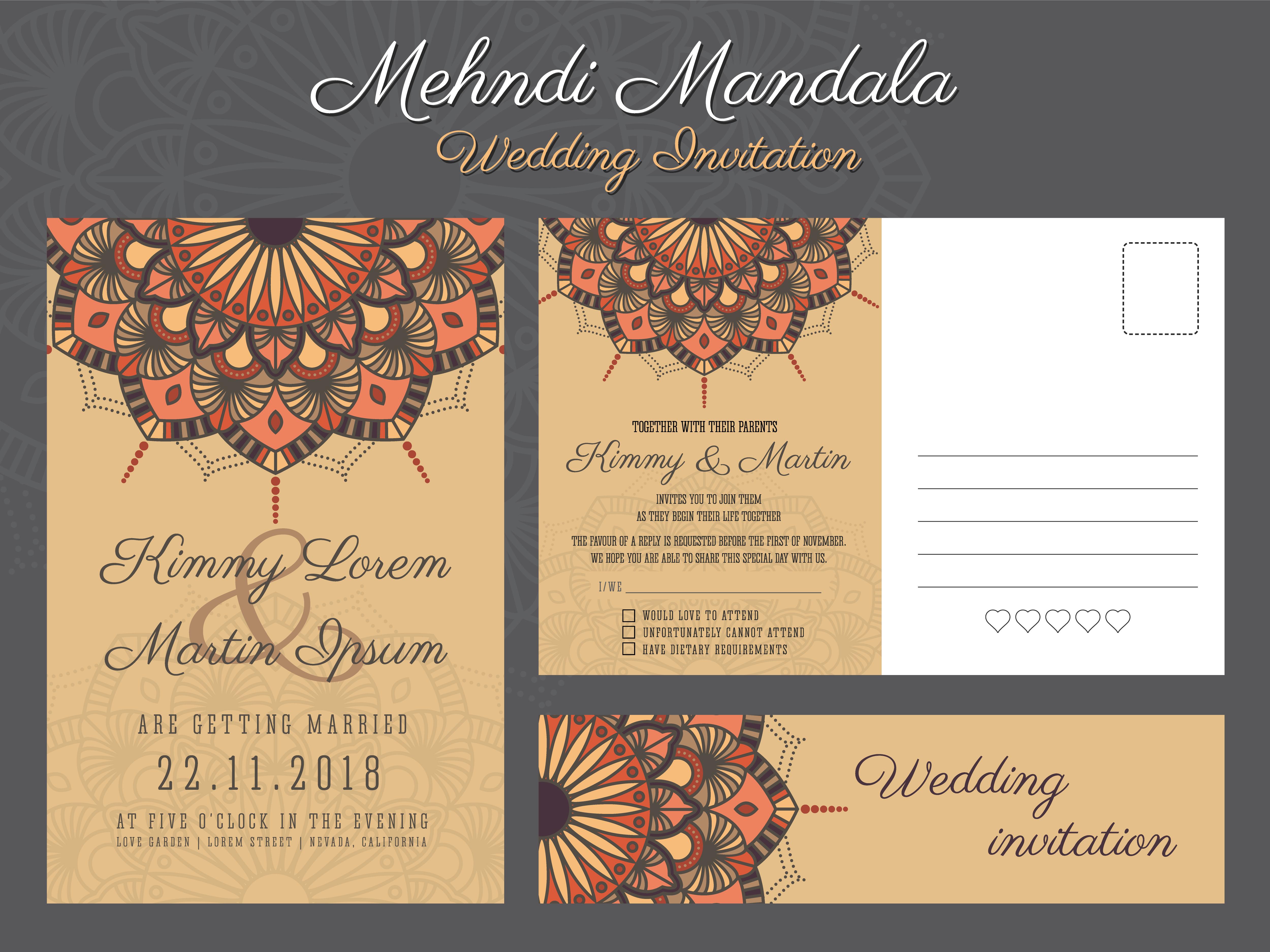 classic vintage wedding invitation card design with