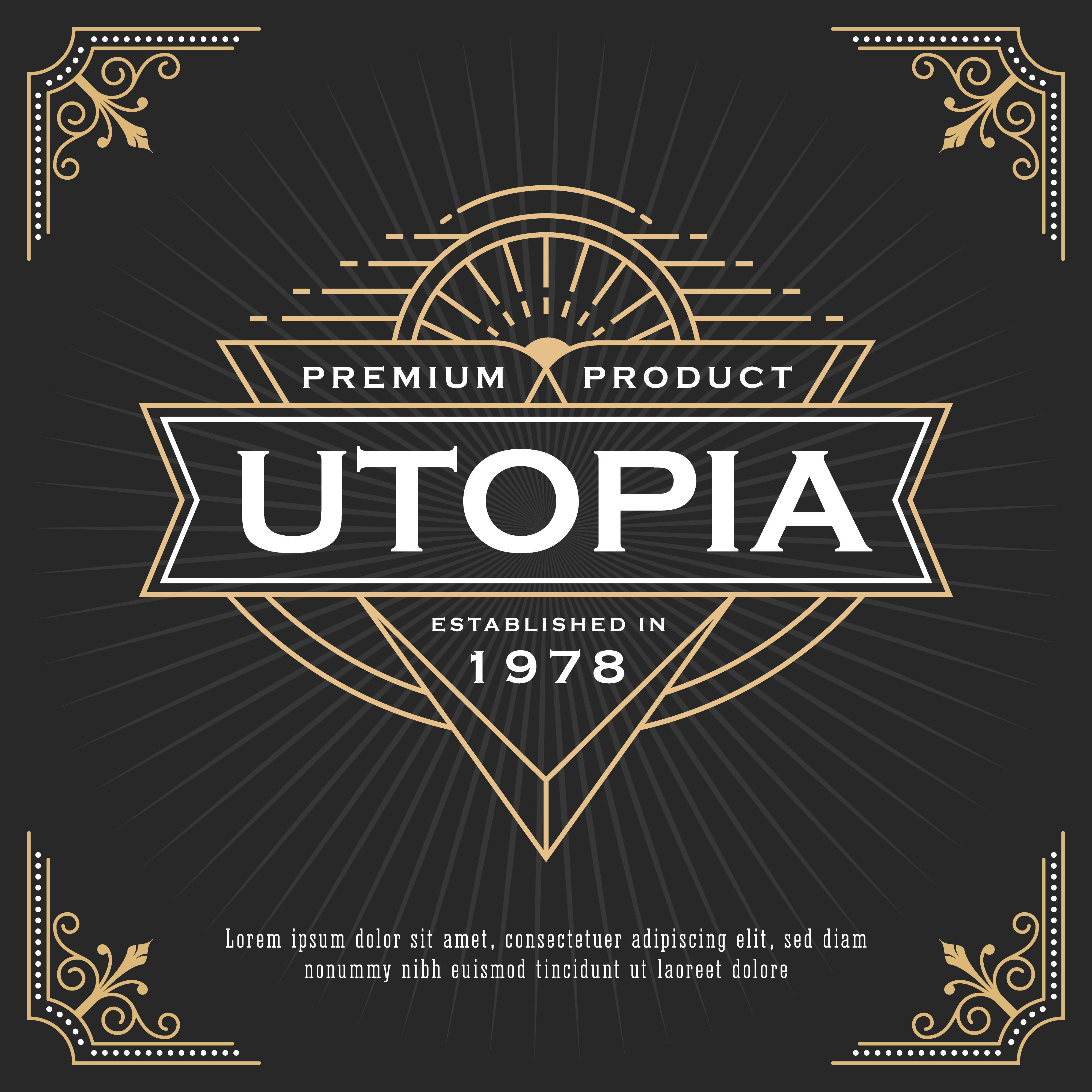 Vintage Line Frame Design For Labels, Banner, Logo , Emblem
