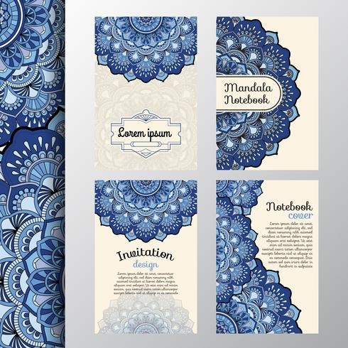 Set of vintage invitation and background design with Mandala dec vector