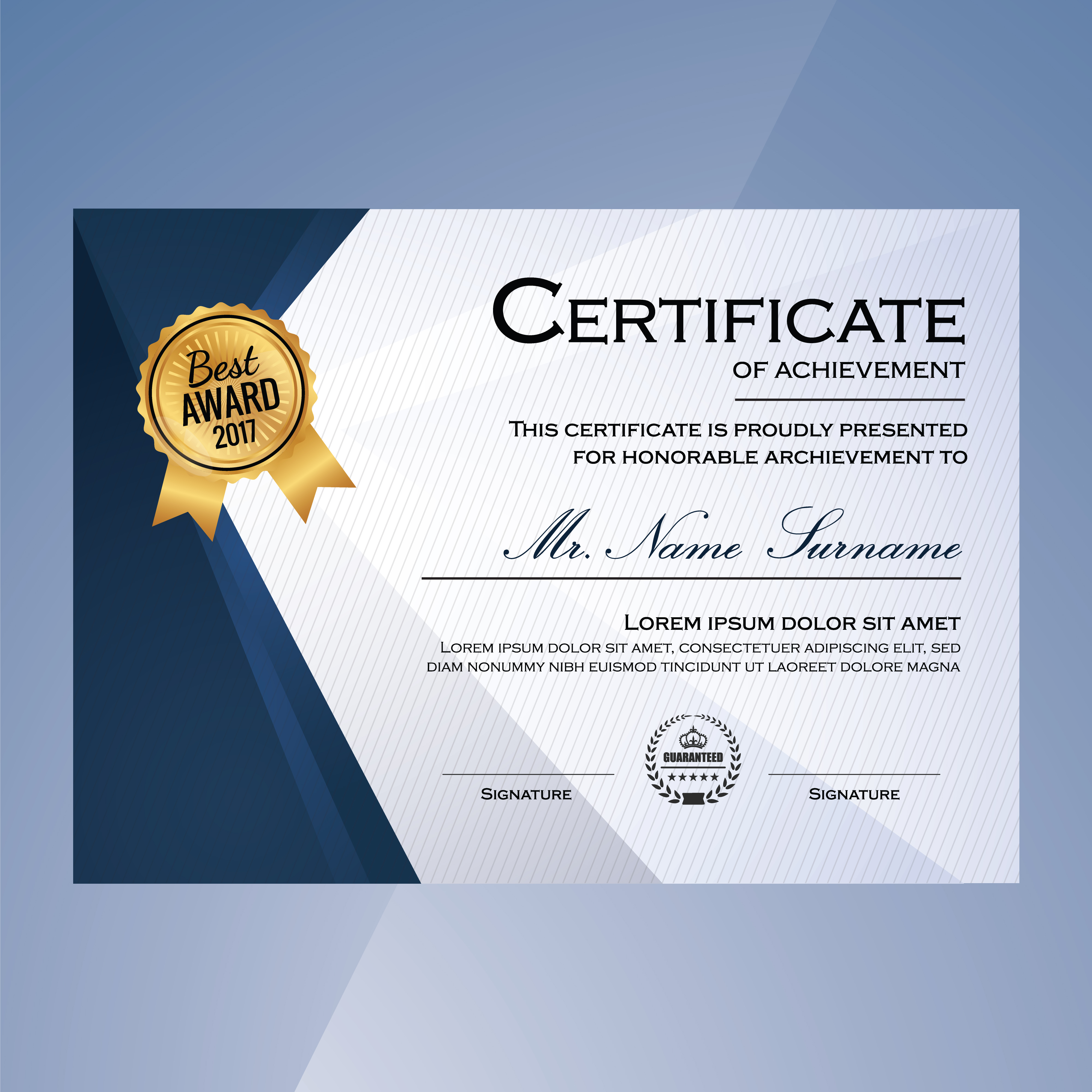 Blaues und weißes elegantes Zertifikat des Leistungsschablonen backg ...