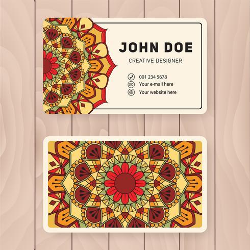 Diseño de tarjeta de nombre comercial creativo útil. Vintage color Manda