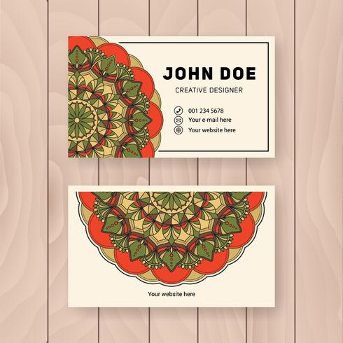 Creative useful business name card design. Vintage colored Manda