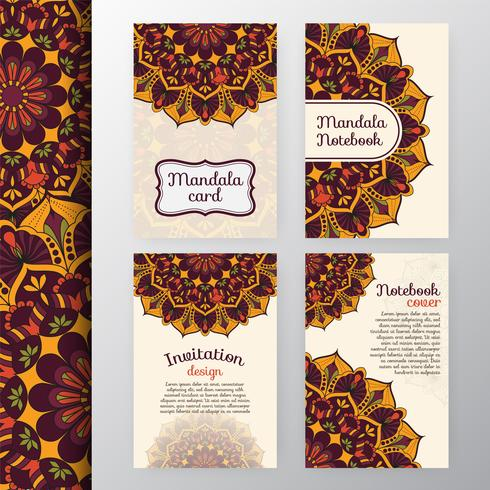 Set of vintage invitation and background design with Mandala dec