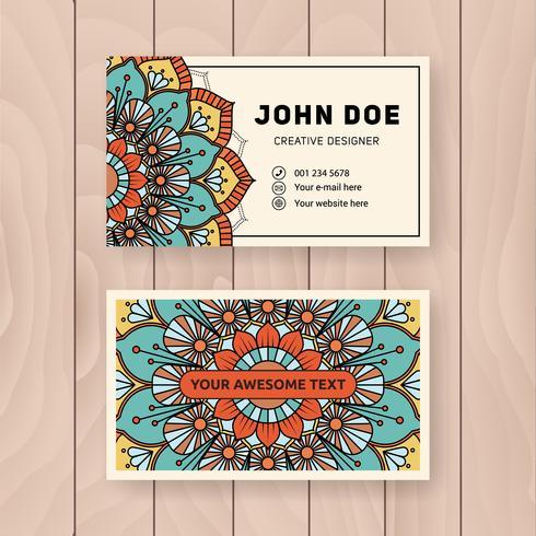 Création de carte de visite utile et créative. Vintage couleur Manda
