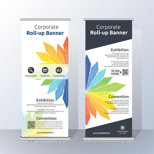 Vertical Roll Up Banner Template Design para Announce and Adverti vector