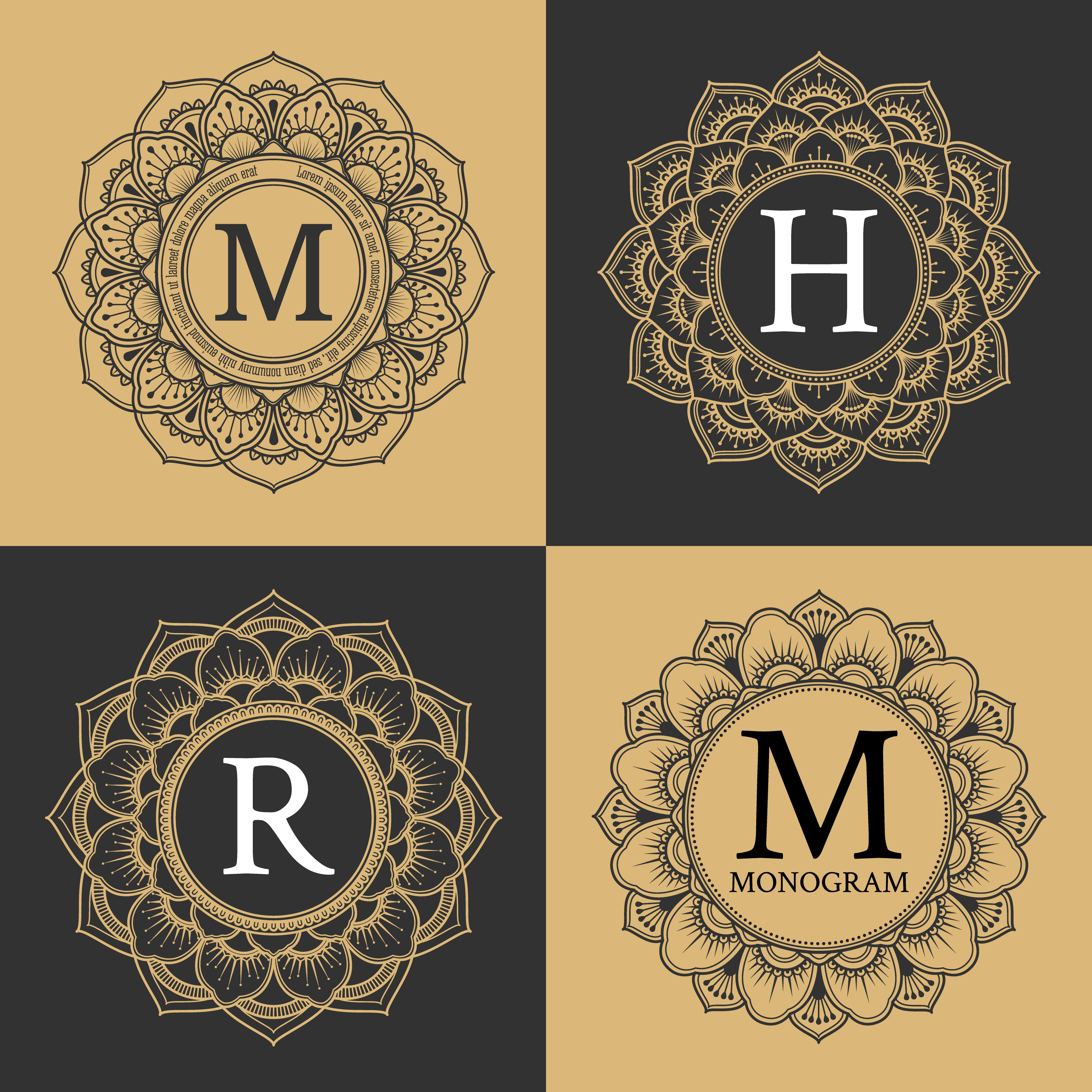 Monogram Circle Frame Vintage Luxury Style Elegant Circle