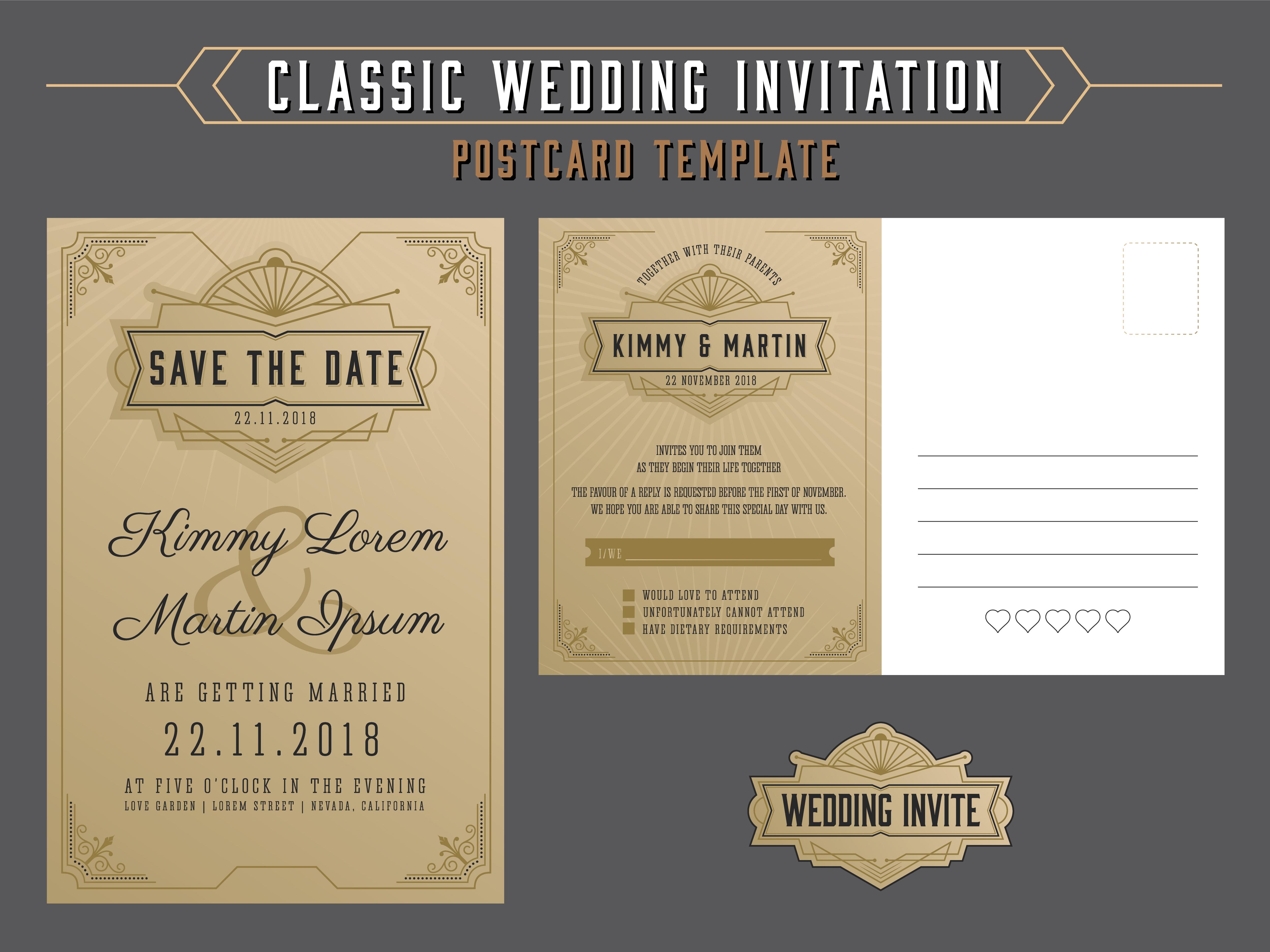 vintage elegant wedding invitation template and rsvp