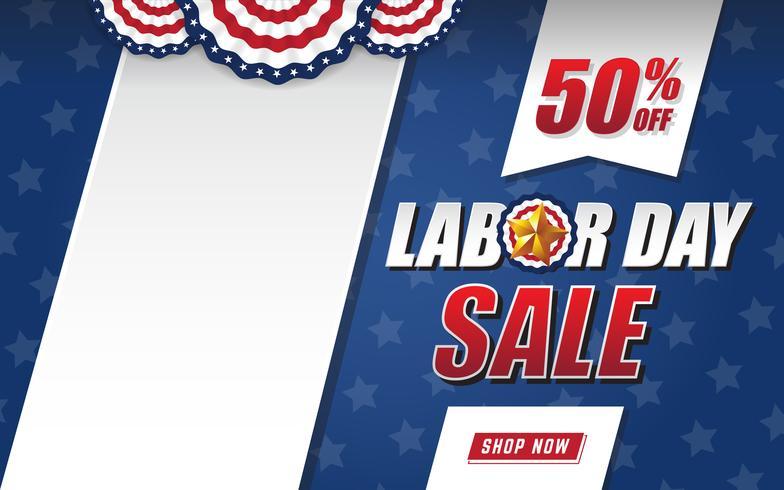 Diseño de fondo de venta de día del trabajo con bandera de Estados Unidos y espacio negro