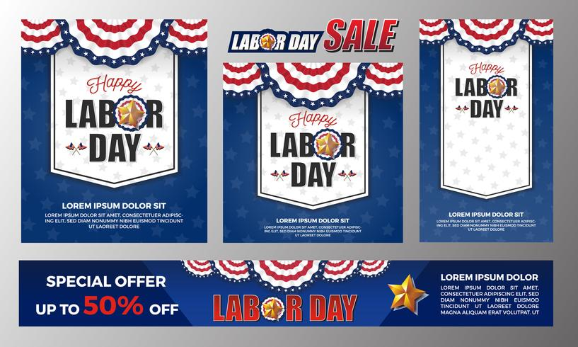 Happy Labor day banner background design. Vector illustration