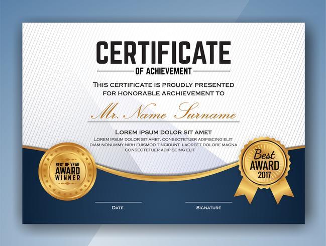 Diseño de plantilla de certificado profesional multipropósito. Vector il